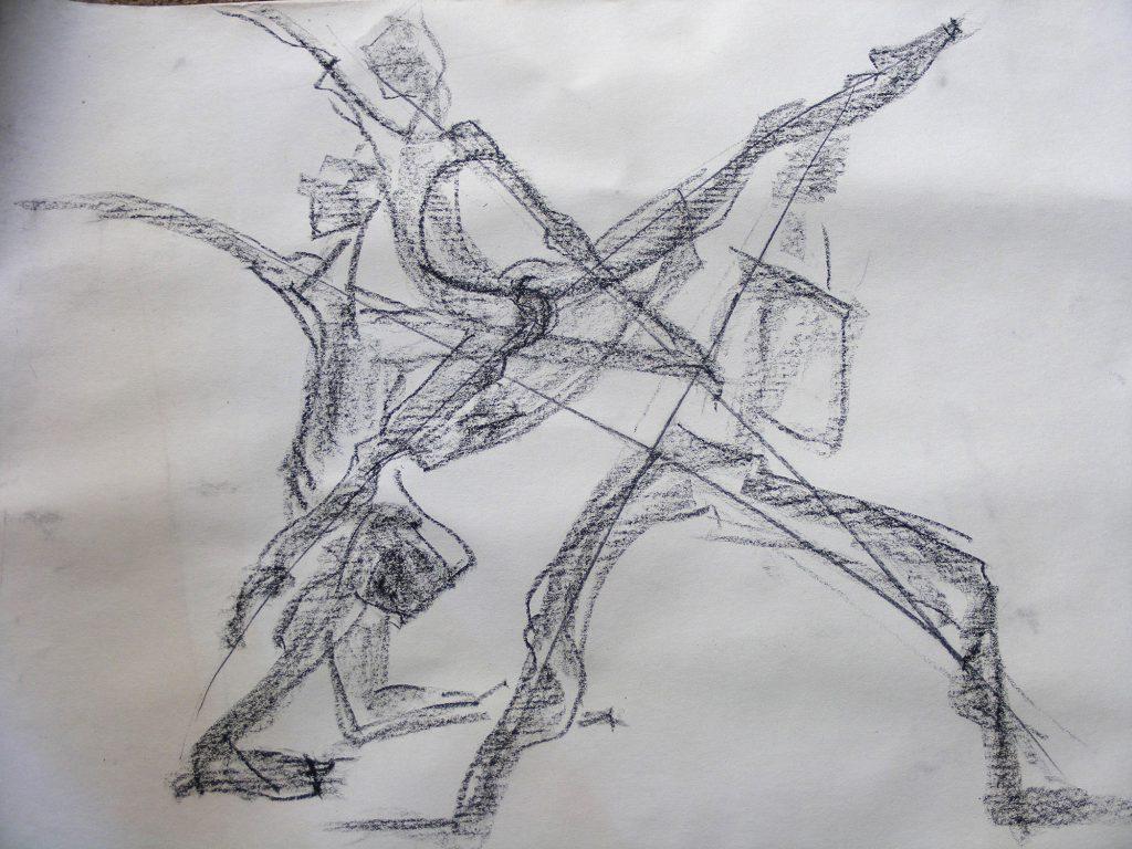 Dance Group Drawing by Greta Berlin