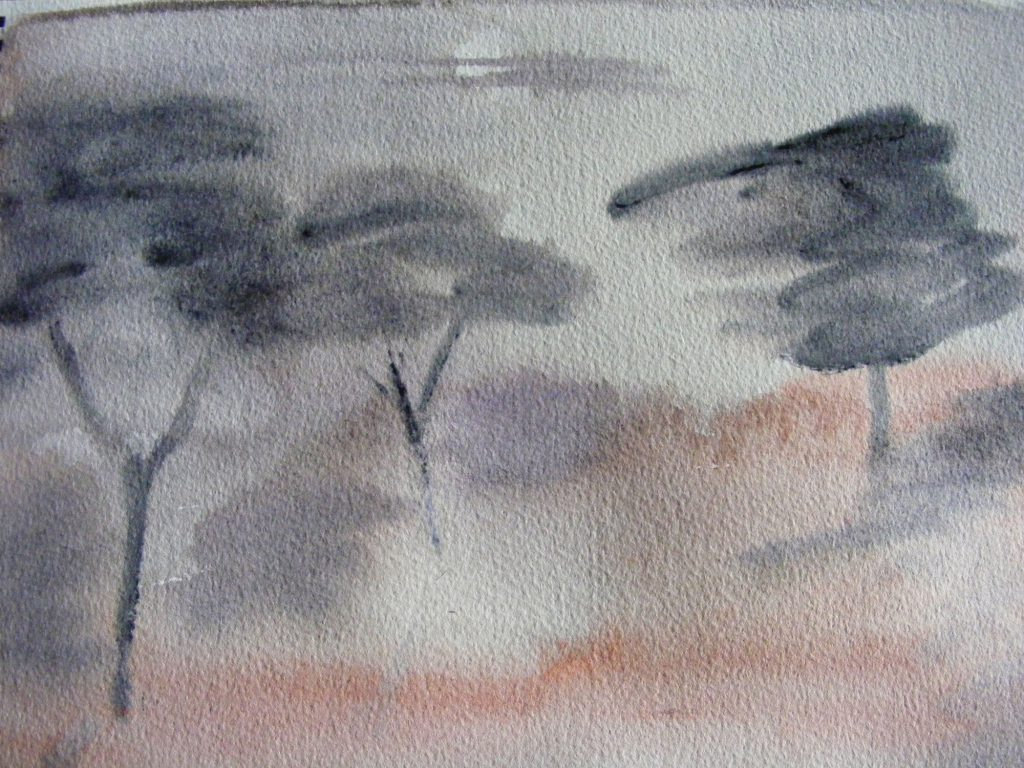 Misty Moon Painting by Greta Berlin