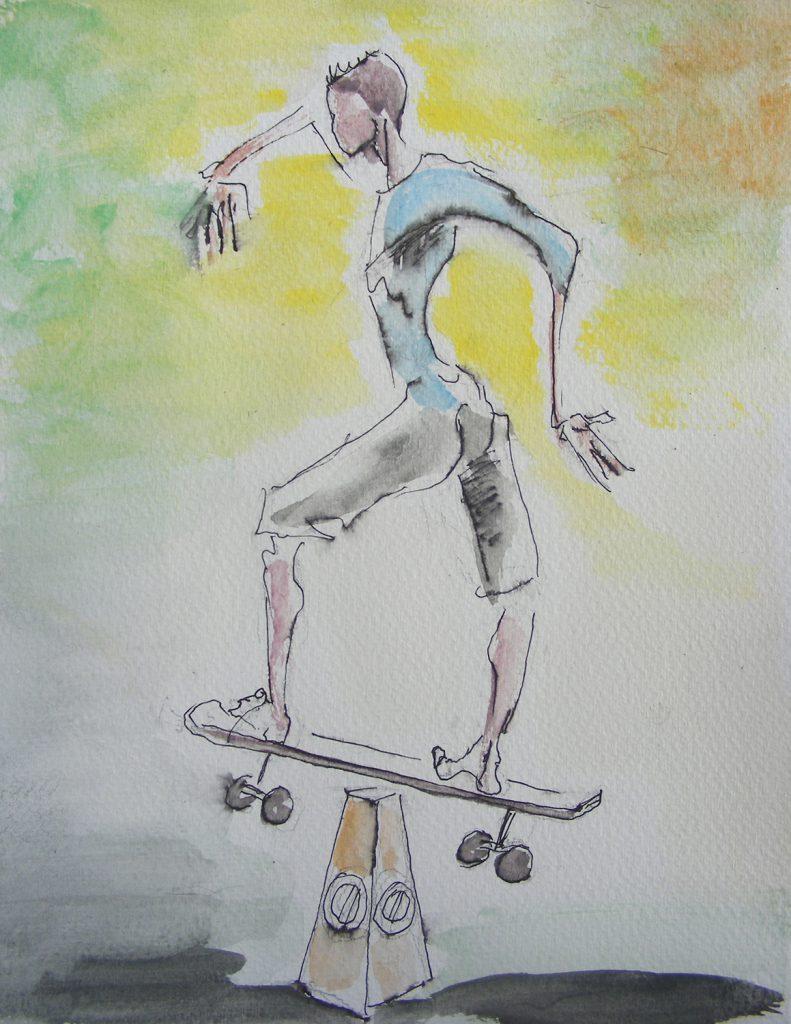Skateboarder Drawing by Greta Berlin