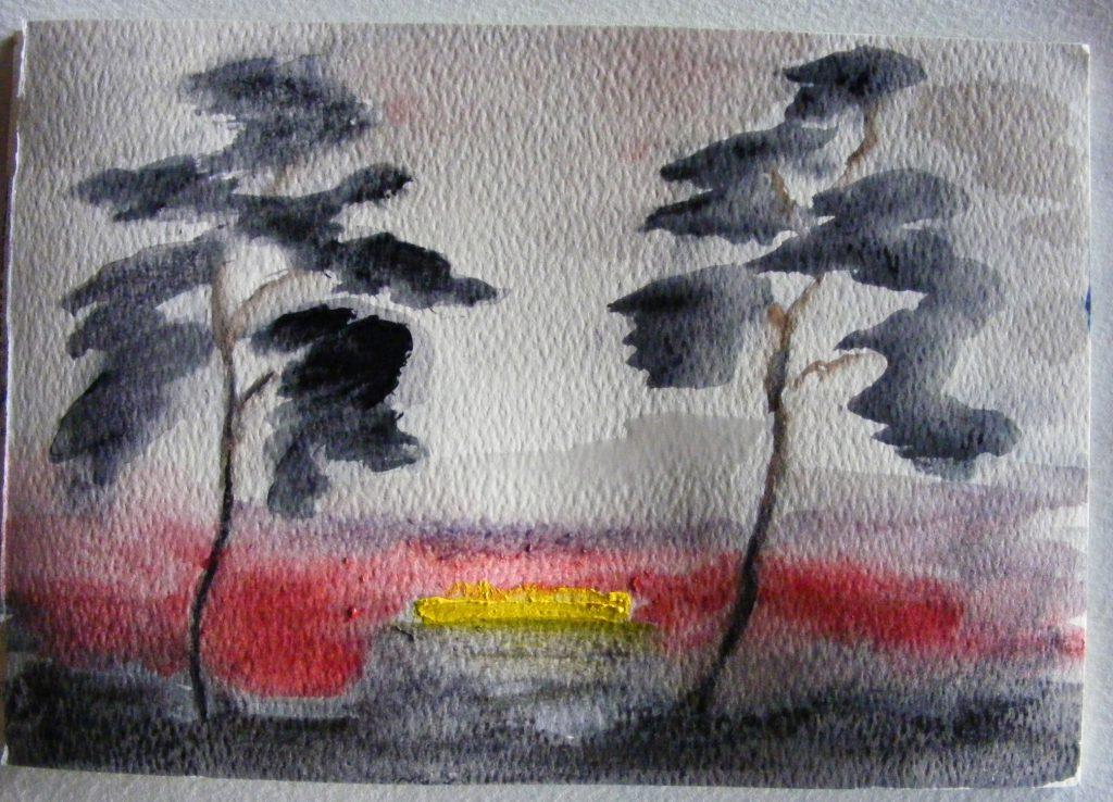 Sunset 2 Trees Painting by Greta Berlin