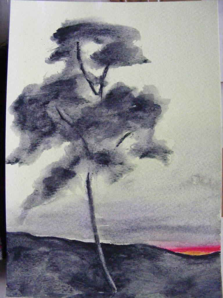 Sunset One tree painting by Greta Berlin