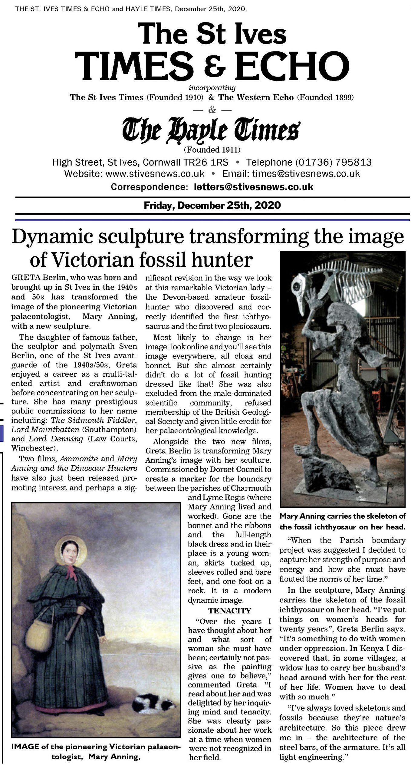 2021 St Ives Times Mary Anning