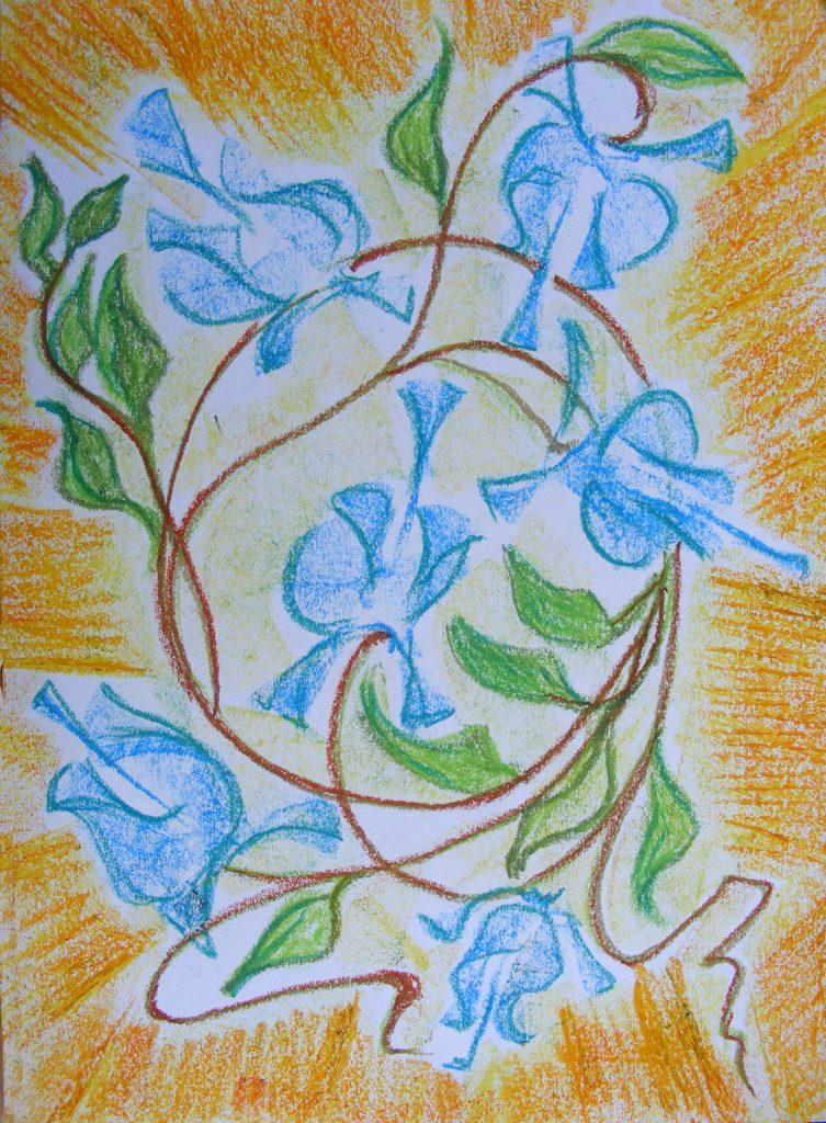 Blue Climber Drawing