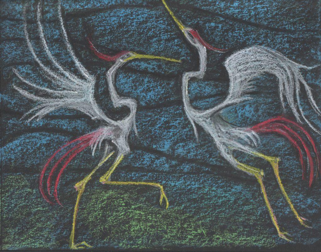 Cranes Dancing Drawing