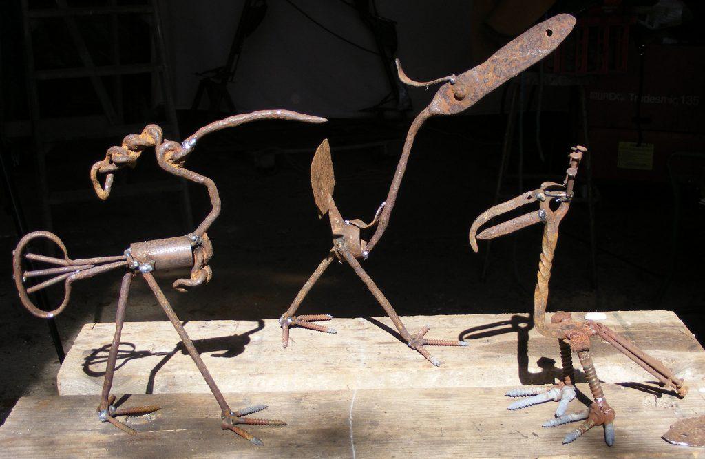 Group of steel sculptures